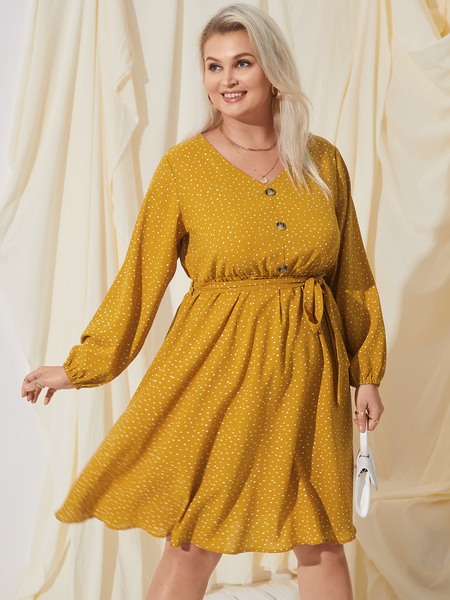 YOINS Plus Size V-neck Polka Dot Belt Design Long Sleeves Mini Dress