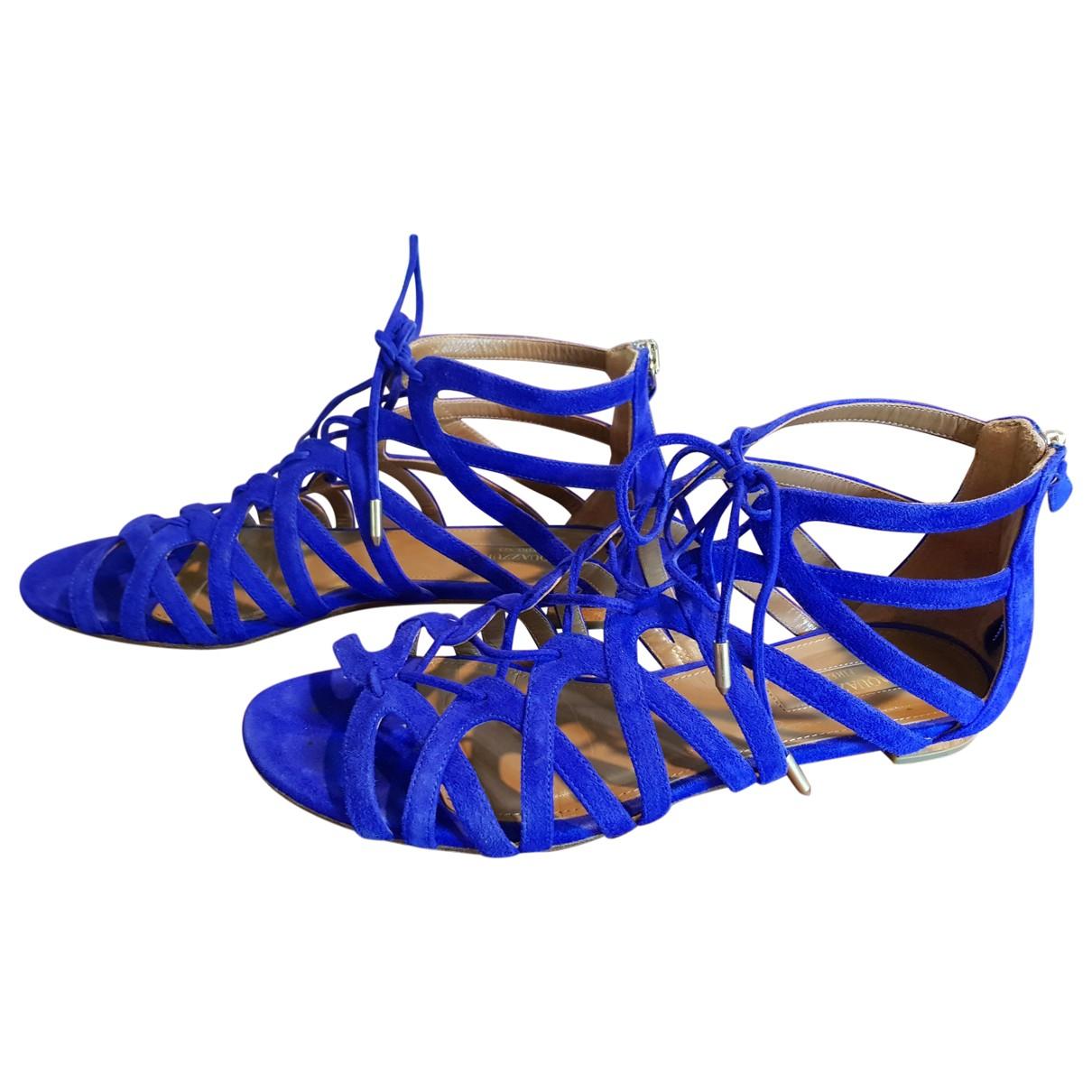 Aquazzura - Sandales   pour femme en suede - bleu