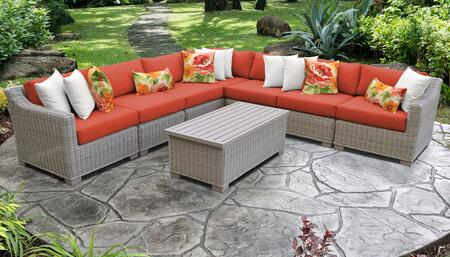 Coast Collection COAST-08a-TANGERINE 8-Piece Patio Set 08a with 1 Corner Chair   4 Armless Chair   1 Storage Coffee Table   1 Left Arm Chair   1