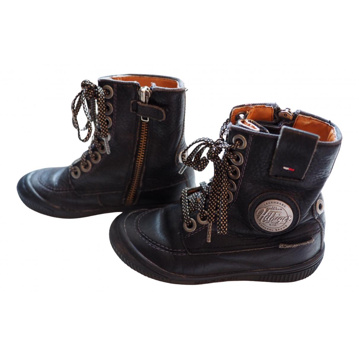 Tommy Hilfiger \N Black Leather Boots for Kids 27 FR