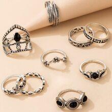 9 Stuecke Ring mit Blumen Design