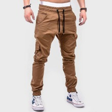 Men Flap Pocket Drawstring Cargo Pants