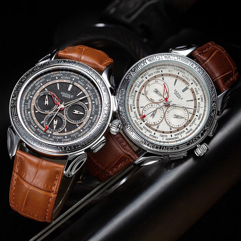 Texture Three Small Dial 24h Display Week Display Men Fashion Quartz Watch