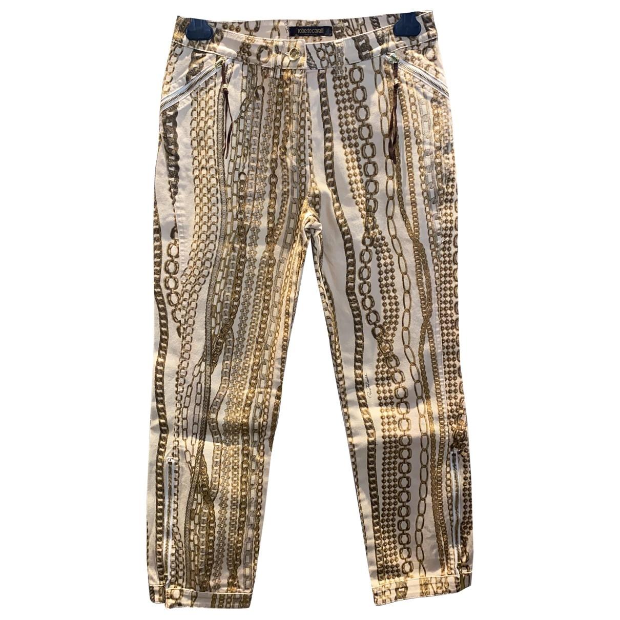 Roberto Cavalli \N Beige Cotton - elasthane Jeans for Women 25 US