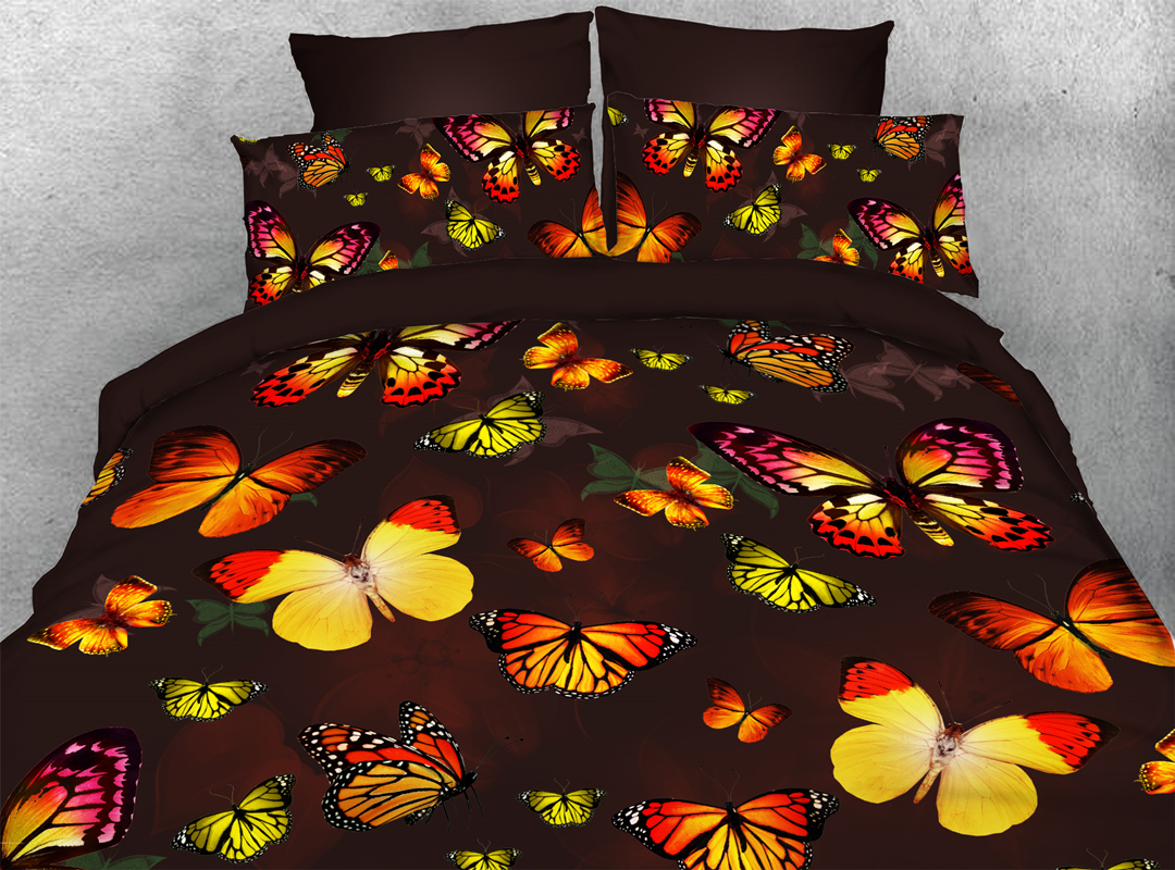 Butterflies 3D 4pcs Animal Durable Bedding Sets No-fading Soft Reactive Printing Zipper Duvet Cover with Ties