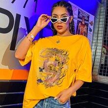 T-Shirt mit chinesischer Drache & Schmetterling Muster