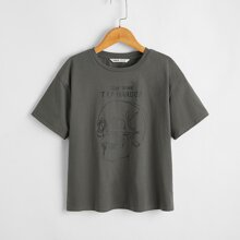 Boys Skull and Slogan Print Tee