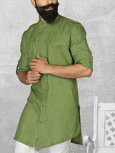 Yoins INCERUN Men Arabian Islamic Muslim Medium Length Button Stand Collar Shirt