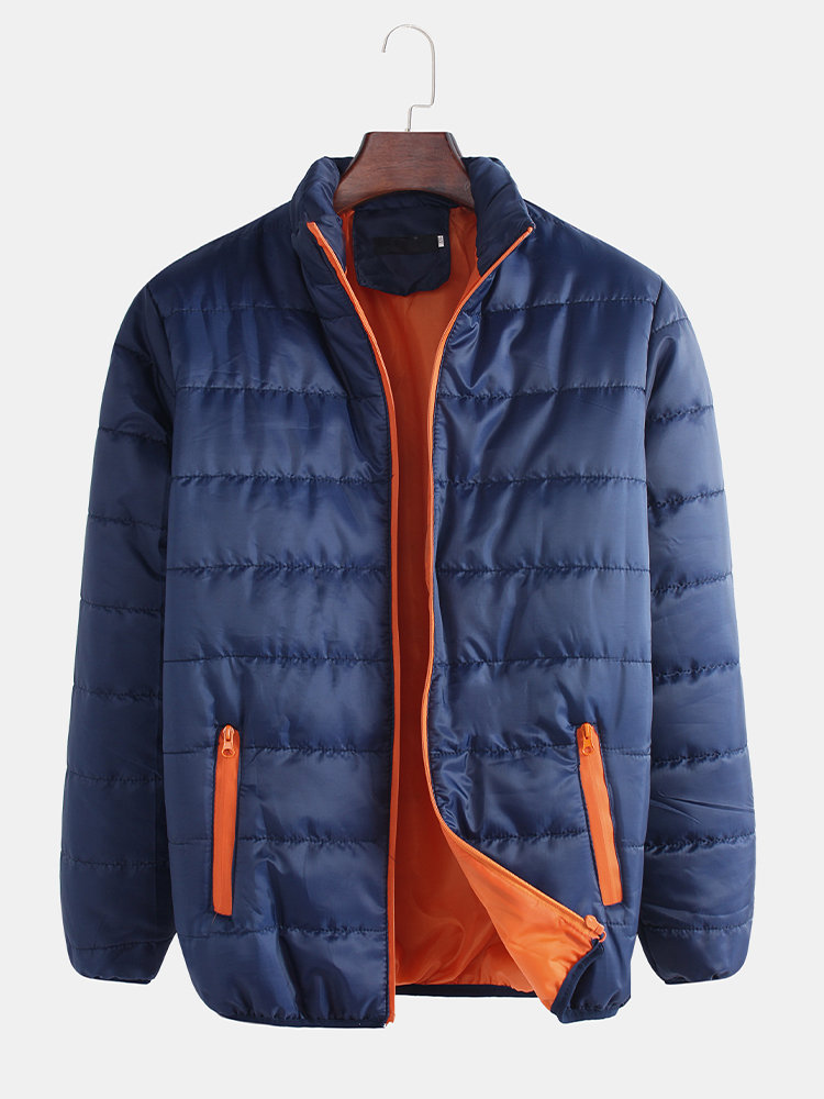 Mens Stitching Pockets Stand Collar Long Sleeve Puffer Zipper Padded Coat