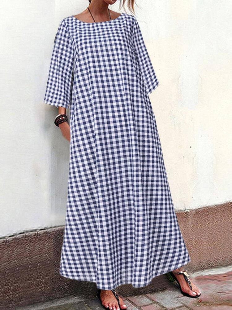 Plaid 3/4 Sleeve A-line Plus Size Maxi Dress with Pockets