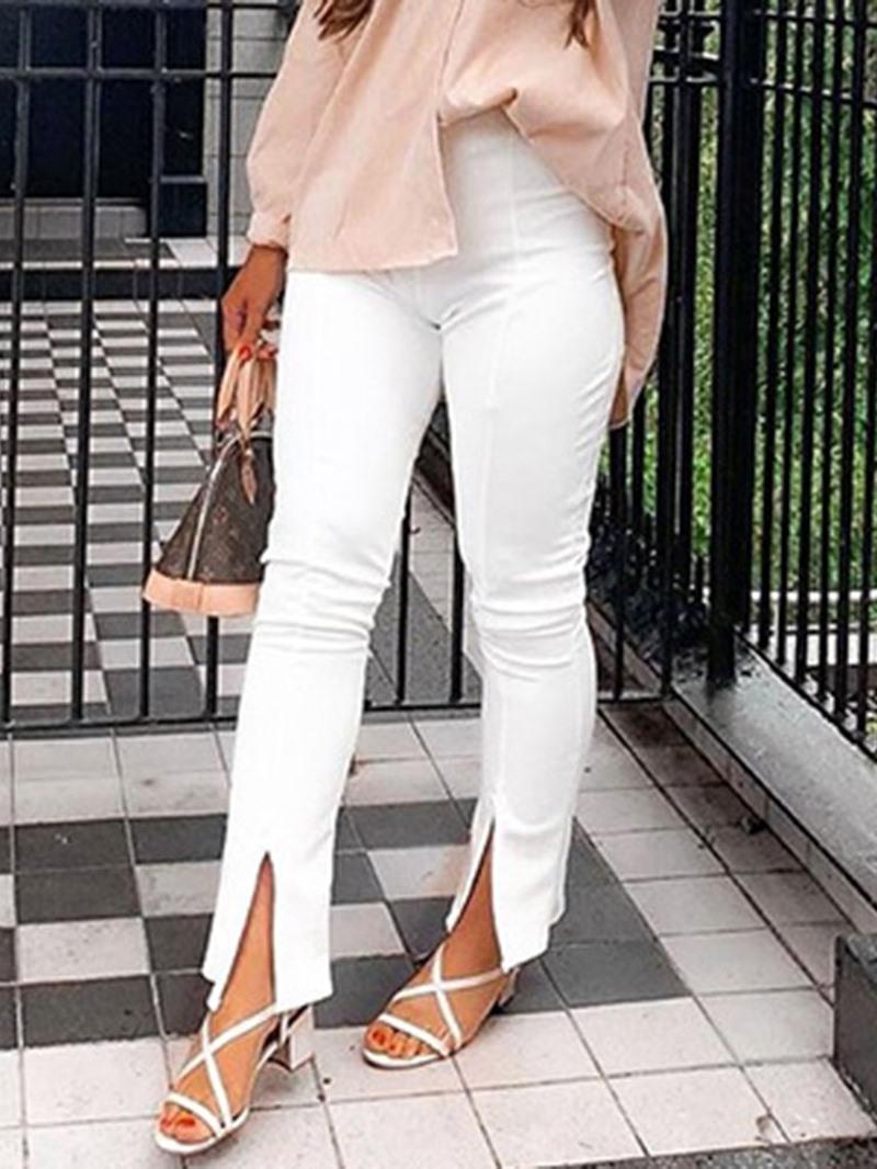 Ericdress Plain Slim Split High Waist Casual Pants