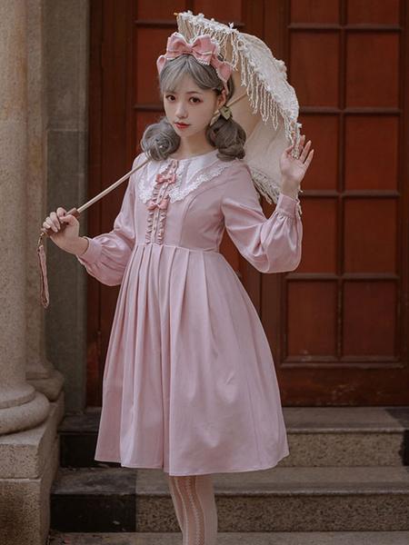 Milanoo Sweet Lolita OP Dress Ruffles Bow Long Sleeve Lolita One Piece Dresses