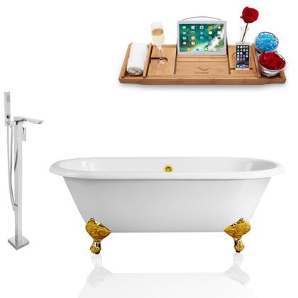 RH5501GLD-GLD-140  66'' Clawfoot Tub  Faucet  and Tray