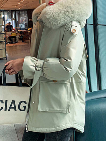Milanoo Abrigo de mujer Puffer White Capucha con capucha Mangas largas Bolsillos Casual Wrap Abrigo