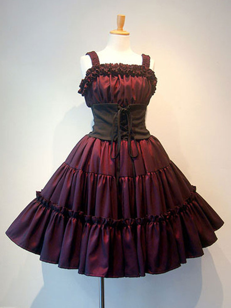 Milanoo Gothic Lolita JSK Dress Black Sleeveless Ruffles Lolita Jumper Skirts