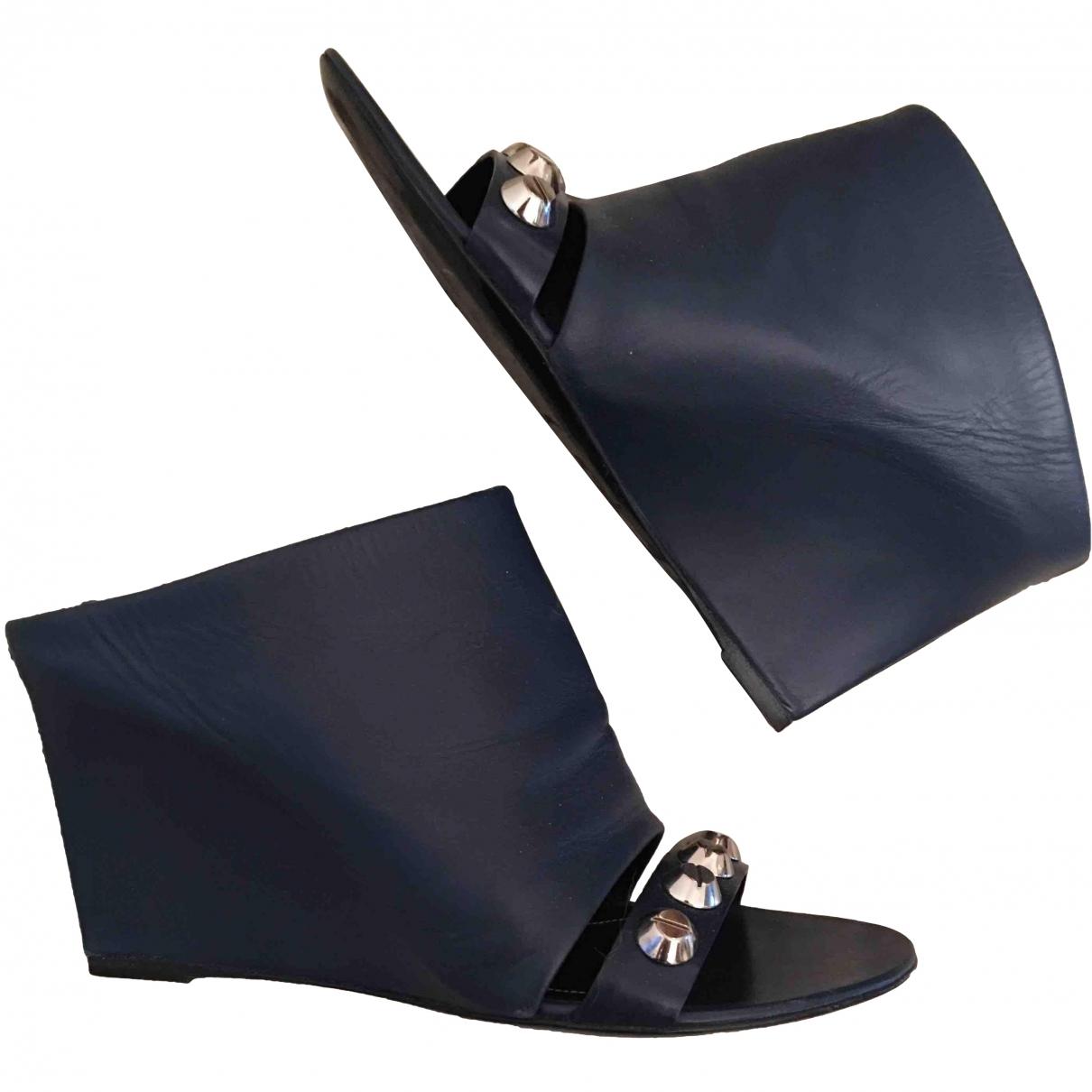 Balenciaga \N Navy Leather Sandals for Women 36.5 EU