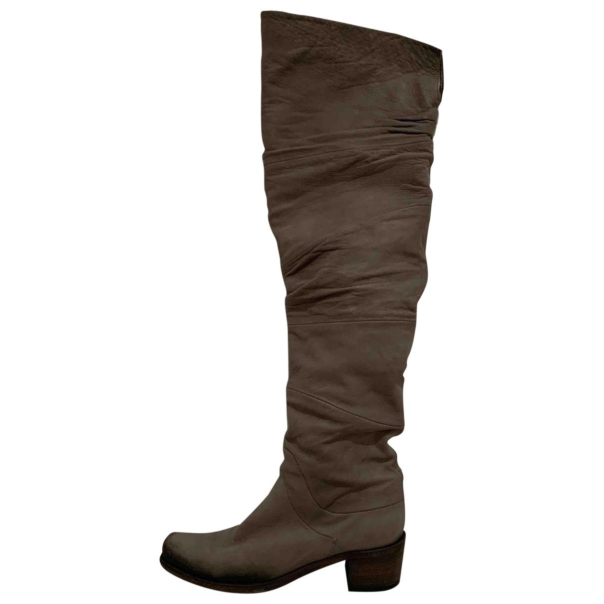Vic Matie - Bottes   pour femme en cuir - beige
