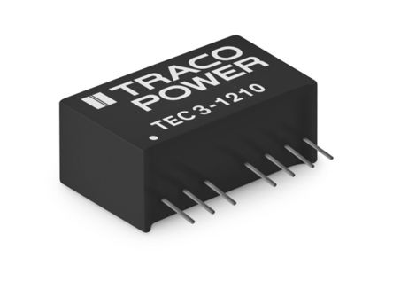 TRACOPOWER TEC 3 3W Isolated DC-DC Converter Through Hole, Voltage in 4.5 → 13.2 V dc, Voltage out 3.3V dc