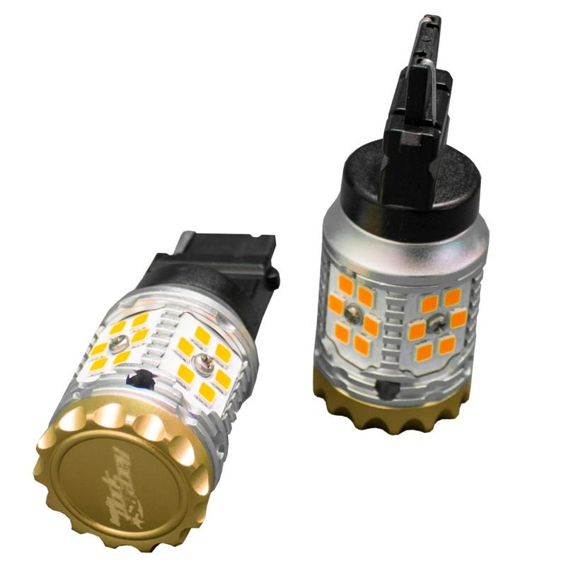 Race Sport Lighting RS7440NRFA 7440 Amber No-Rapid Flash Canbus Turn signal LED Bulbs 1,860 lumens Epistar 3030 Super Bright Pair
