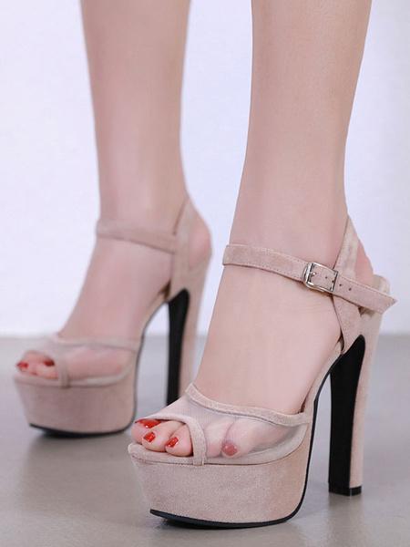 Milanoo Sandalias de tacon alto Plataforma Mujer Peep Toe Patchwork Hebilla Detalle Sandalia Zapatos
