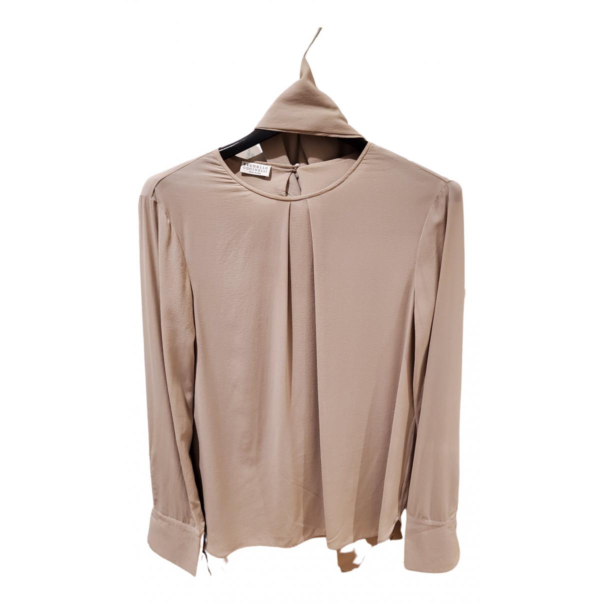 Brunello Cucinelli - Top   pour femme en soie - beige