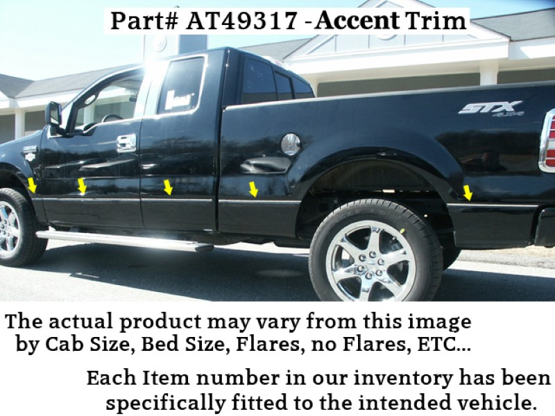 Quality Automotive Accessories 12 Piece Stainless Body Side Molding Accent Trim Ford F-150  09-10