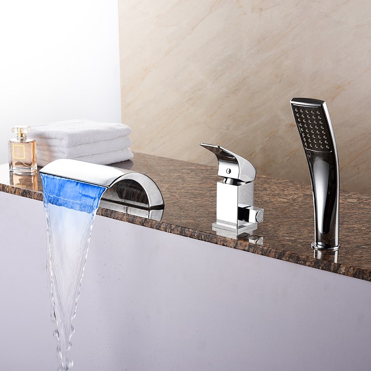Colorful Chrome Single Handle Three Holes LED Widespread Bathtub Faucet