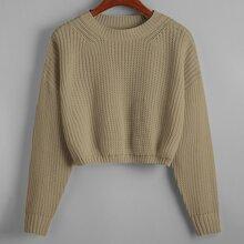 Solid Drop Shoulder Crop Sweater