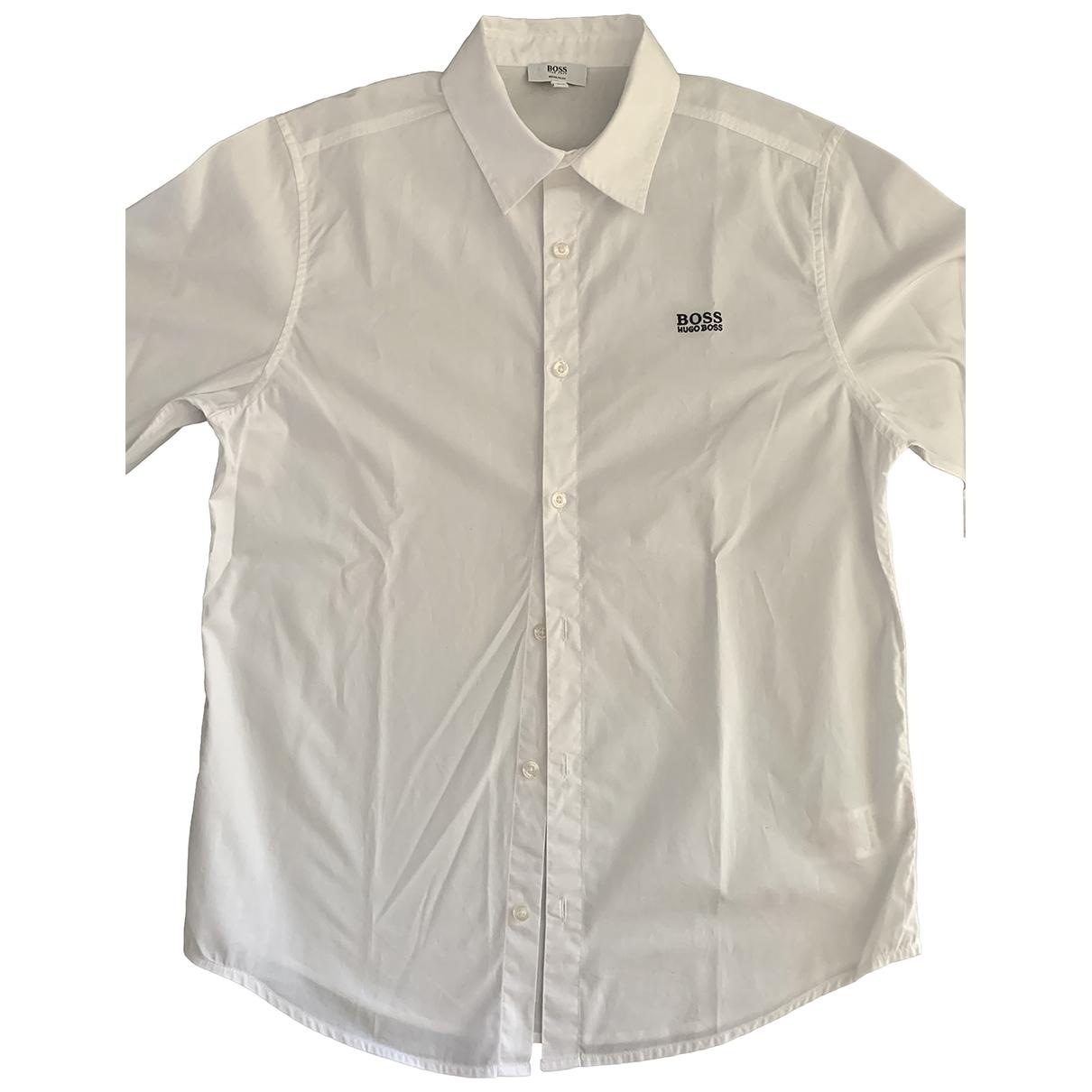 Boss - Top   pour enfant en coton - blanc