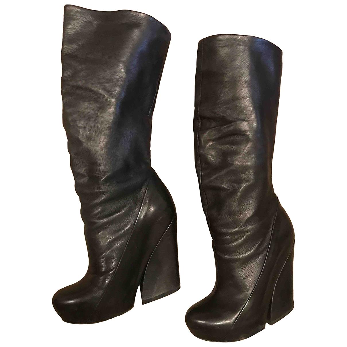 Vic Matié \N Black Leather Boots for Women 37 EU