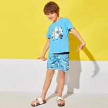 Boys Tropical Print Top & Shark Print Shorts Set