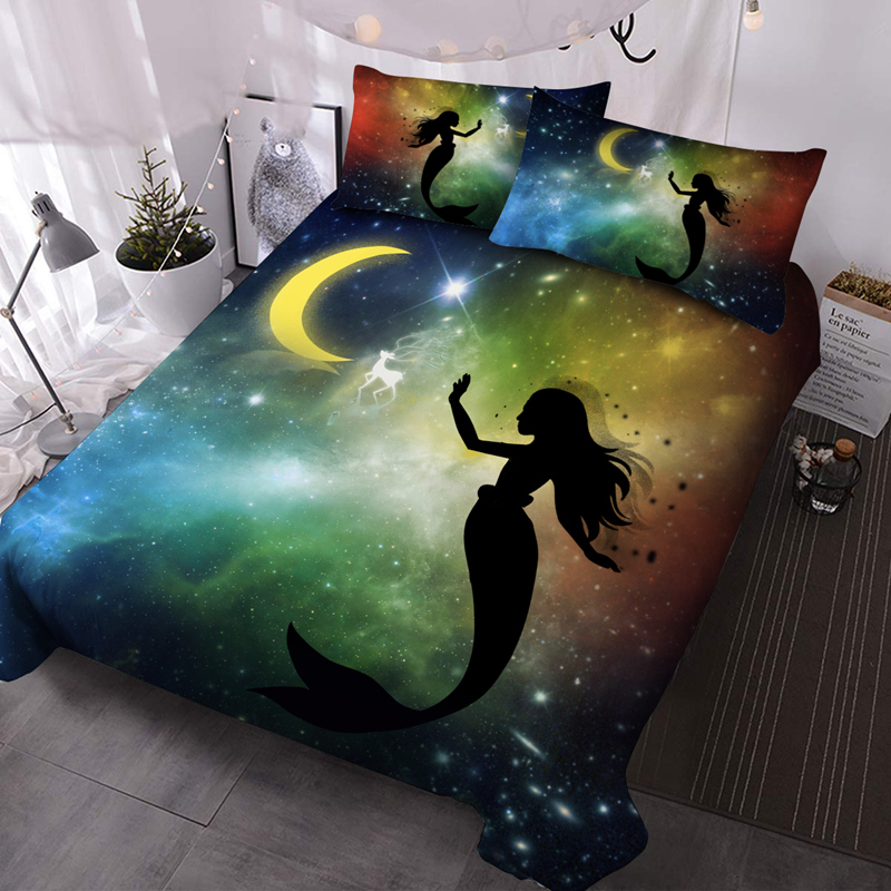 Mermaid and Moon 3Pcs Microfiber Wrinkle/Fade Resistant Comforter Set 3D Galaxy Comforter Insert with 2 Pillow Covers