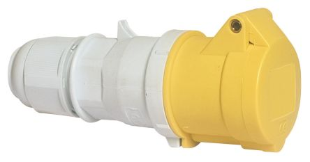Bals IP44 Yellow Cable Mount 2P+E Industrial Power Socket, Rated At 16.0A, 110.0 V