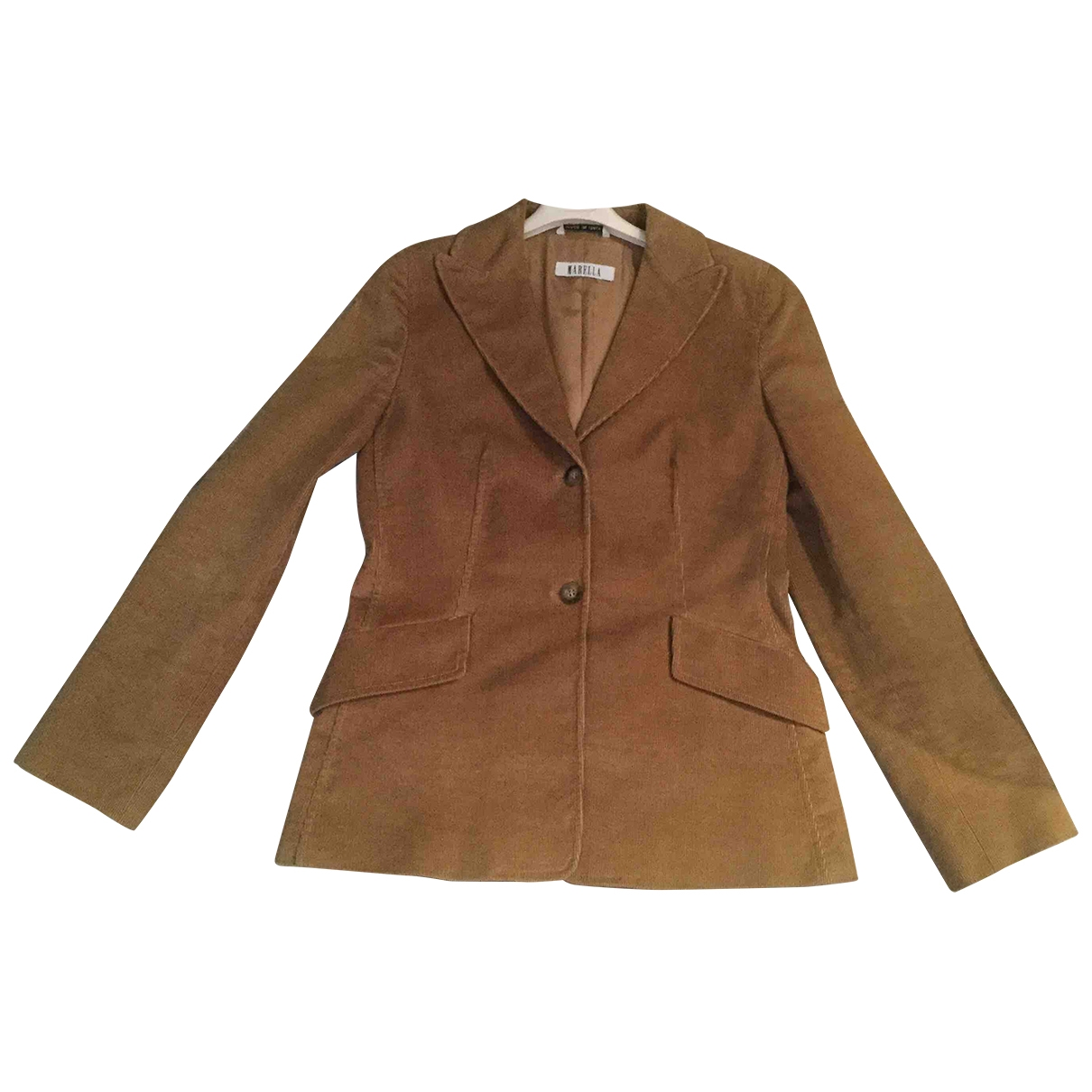 Marella \N Beige Velvet jacket for Women 42 IT