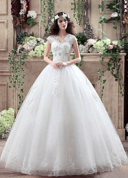 Milanoo Princess Wedding Dress V Neck Maxi Sequin Bridal Gown Lace Beading Keyhole Floor Length White Bridal Dress