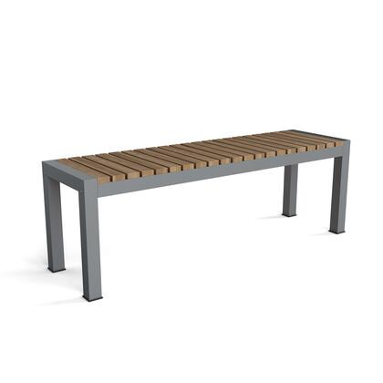 Seville BH-5315 3-Seater Bench with Teak Wood and Aluminum Construction in Grey 170 Grit Powder