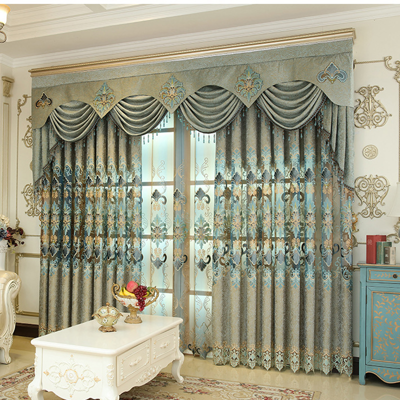 Decorative Polyester Embroidered Luxury European Style Blackout Curtain Drapes