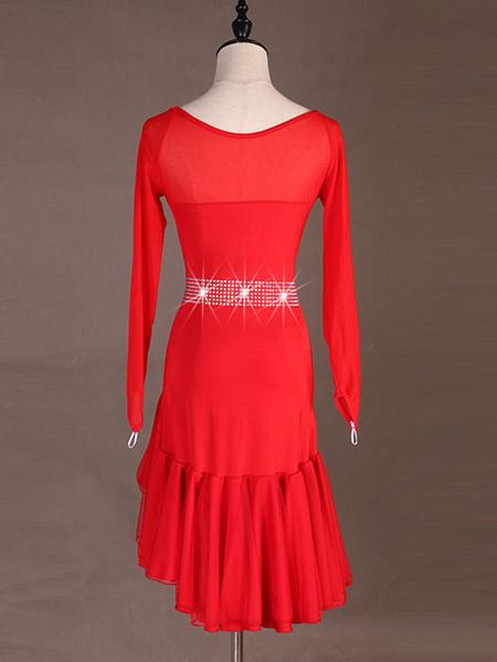 Milanoo Dance Costumes Latin Dancer Dresses Women Pleated Studded Skirt Dancing Wears Outfit HalloweenHalloween