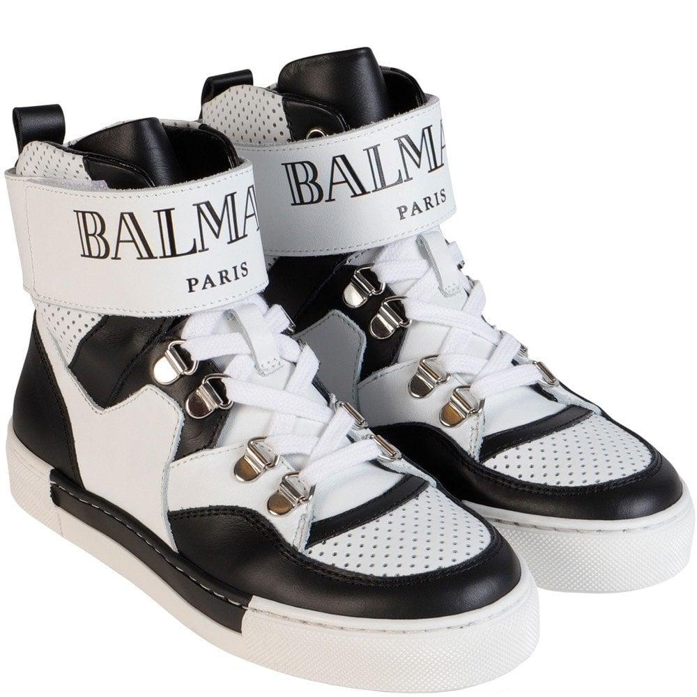 Balmain Paris Kids High Top Logo Sneakers Colour: BLACK, Size: EU34