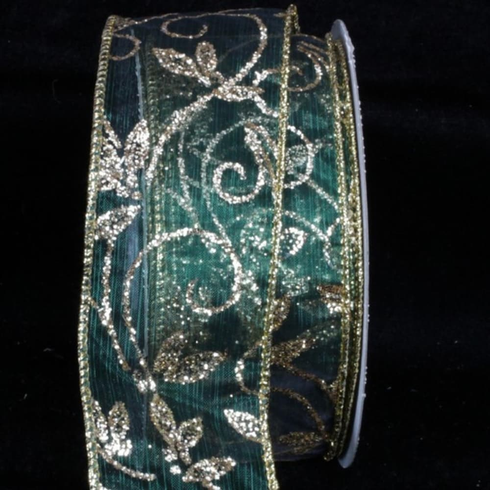 Sheer Hunter Green Kampai Swirl Wired Craft Ribbon 2