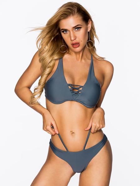 Yoins Grey Basic Criss-cross Bikini Set