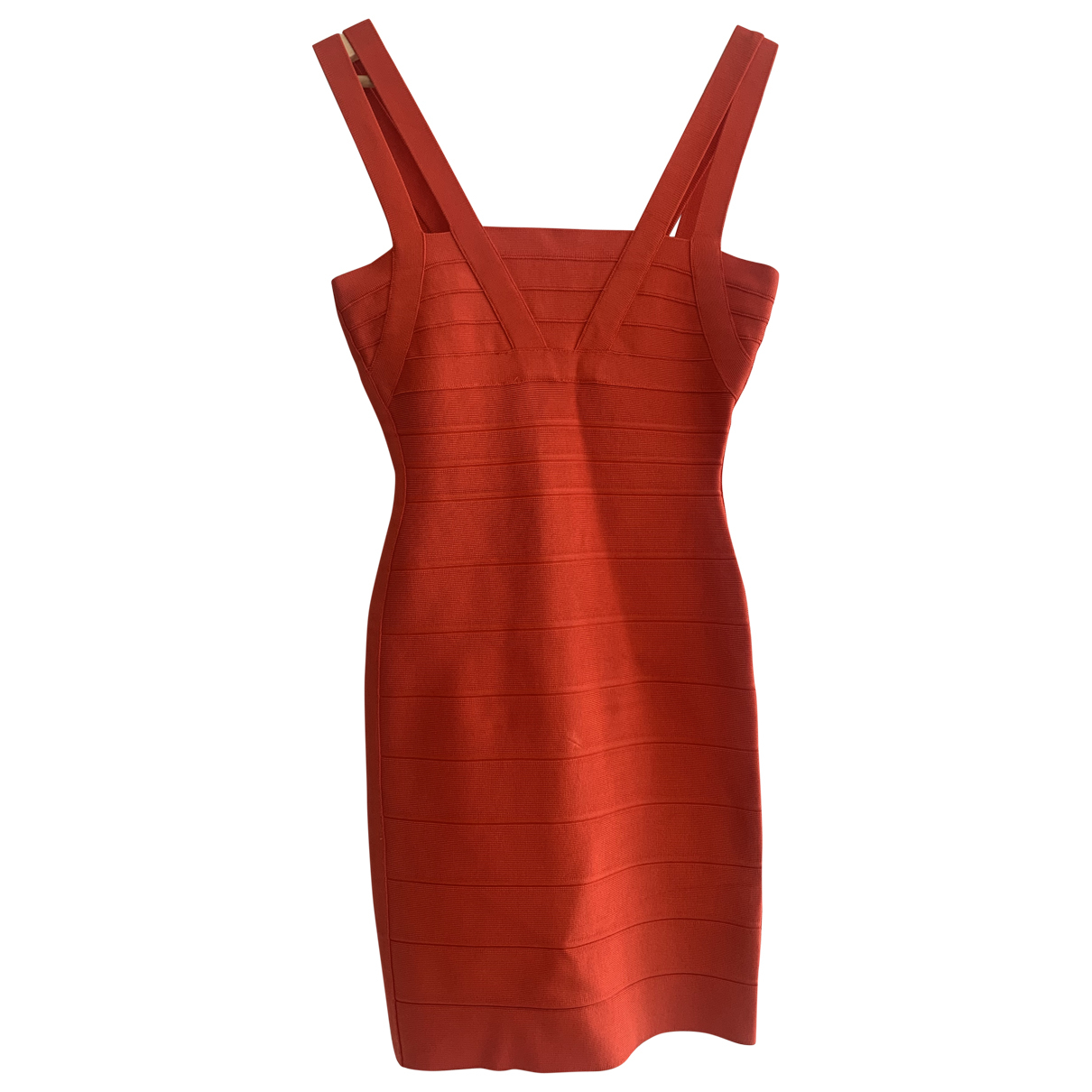 Herve Leger \N Kleid in  Orange Baumwolle - Elasthan