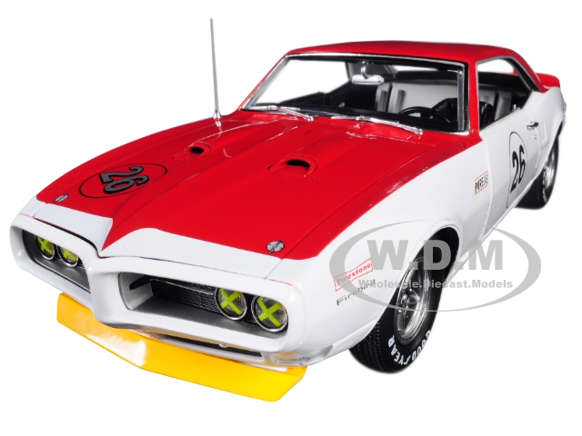 1968 Pontiac Trans Am Firebird Tribute 26 Jerry Titus White and Red 1/18 Diecast Car Model by Acme
