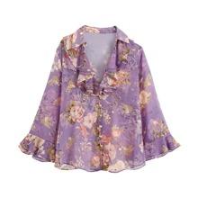 Chiffon Bluse mit Blumen Muster, mehrschichtiger Ruesche und Knopfen