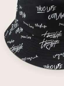 Letter Graphic Reversible Bucket Hat