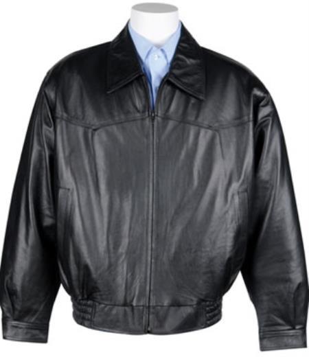Mens Western Leather Bomber Jacket Black