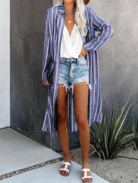 Yoins ZANZEA Slit Stripe Turn Down Collar Longline Blouse