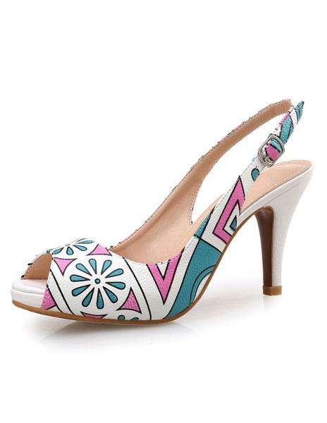 Milanoo Peep Toe Platform Sandals High Heel Slingback Printed Summer Shoes