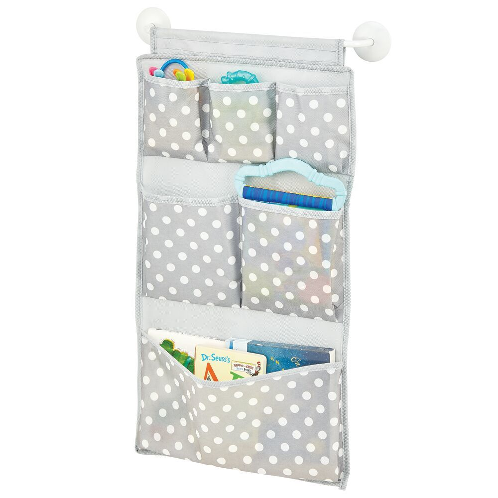 6 Compartment Fabric Over the Door Organizer -  in Gray/White, 13.5