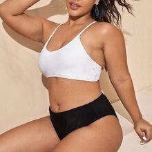 Bikini Badeanzug mit Farbblock und hoher Taille